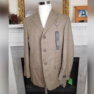 Oscar De La Renta Tan Blue Plaid Wool Blazer 40R